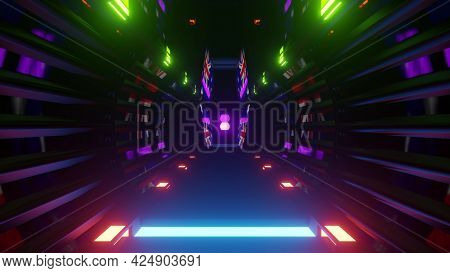 Futuristic Tunnel With Colorful Lights 4k Uhd 3d Illustration