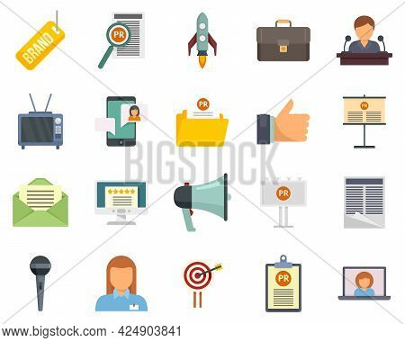 Pr Specialist Icons Set. Flat Set Of Pr Specialist Vector Icons Isolated On White Background