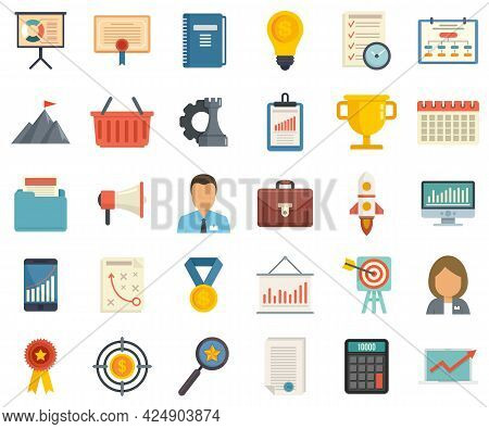 Product Manager Icons Set. Flat Set Of Product Manager Vector Icons Isolated On White Background