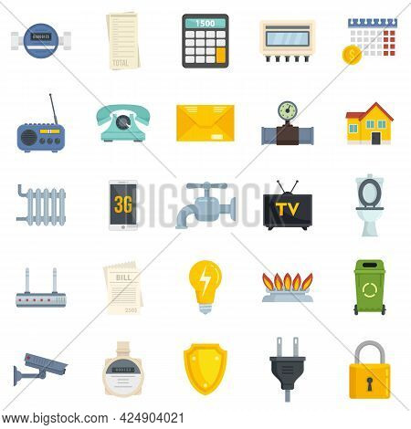 Utilities Icons Set. Flat Set Of Utilities Vector Icons Isolated On White Background