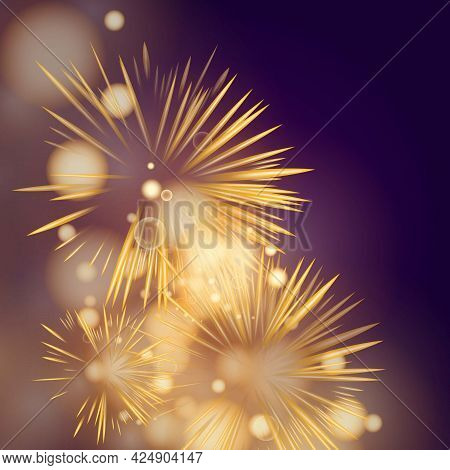 Beautiful Fireworks And Glitter Bokeh Lighting Effect Colorfull Blurred Abstract Background For Anni