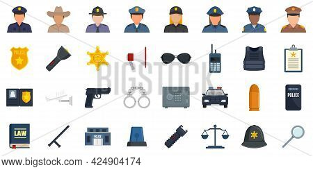 Policeman Icons Set. Flat Set Of Policeman Vector Icons Isolated On White Background