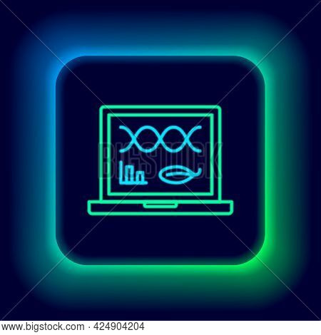 Glowing Neon Line Genetic Engineering Modification On Laptop Icon Isolated On Black Background. Dna
