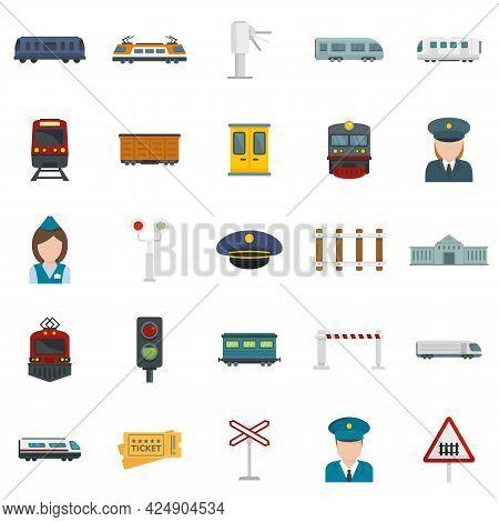 Electric Train Driver Icons Set. Flat Set Of Electric Train Driver Vector Icons Isolated On White Ba