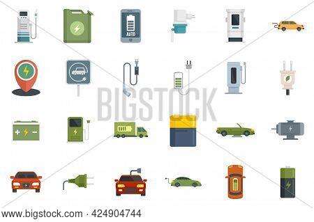 Hybrid Car Icons Set. Flat Set Of Hybrid Car Vector Icons Isolated On White Background
