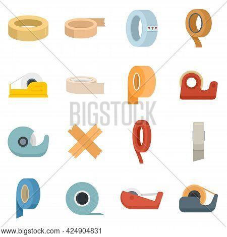 Scotch Tape Icons Set. Flat Set Of Scotch Tape Vector Icons Isolated On White Background
