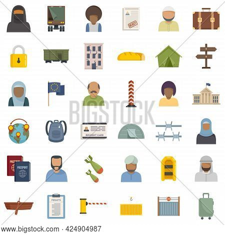 Illegal Immigrants Icons Set. Flat Set Of Illegal Immigrants Vector Icons Isolated On White Backgrou