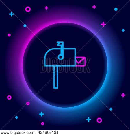 Glowing Neon Line Open Mail Box Icon Isolated On Black Background. Mailbox Icon. Mail Postbox On Pol