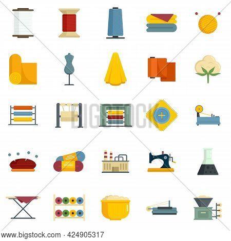 Textile Production Icons Set. Flat Set Of Textile Production Vector Icons Isolated On White Backgrou