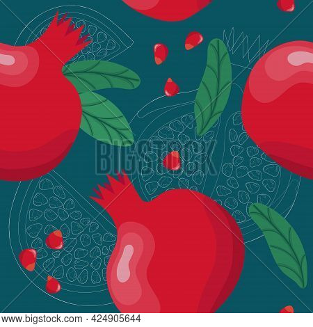 Pomegranate Seamless Pattern. Colorfull Red Pomegranate Whith Seeds And Leaves On The Dark Blue Back