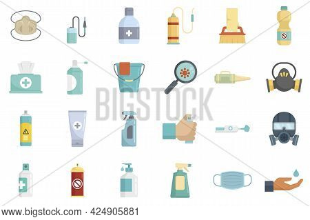 Disinfection Icons Set. Flat Set Of Disinfection Vector Icons Isolated On White Background
