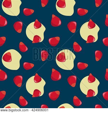 Pomegranate Seeds Seamless Pattern. Colorfull Red Pomegranate Seeds On The Dark Blue Background With
