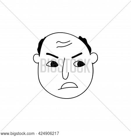 Hand Drawn Human Face Doodle. Angry Man With A Bald Head. Isolated Ink Pen Drawing. Pencil Drawing.