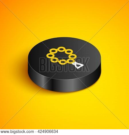 Isometric Line Rosary Beads Religion Icon Isolated On Yellow Background. Black Circle Button. Vector