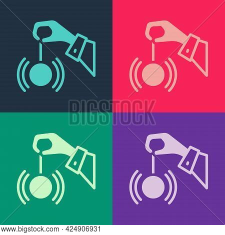 Pop Art Hypnosis Icon Isolated On Color Background. Human Eye With Spiral Hypnotic Iris. Vector