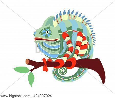 Funny Phlegmatic Chameleon On A Branch With Leaves, Exotic Reptile, Cute Pet, Color Vector Illustrat