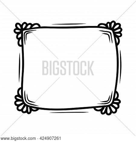Hand Drawn Abstract Square Frame With Natural Elements Isolated On A White Background. Doodle, Simpl