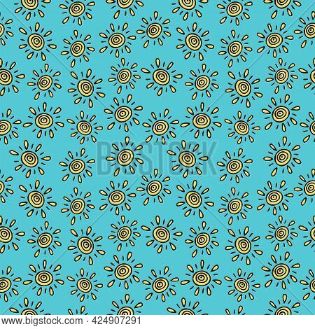 Seamless Pattern With Hand Drawn By The Sun On A Blue Background. It Can Be Used For Decoration Of T
