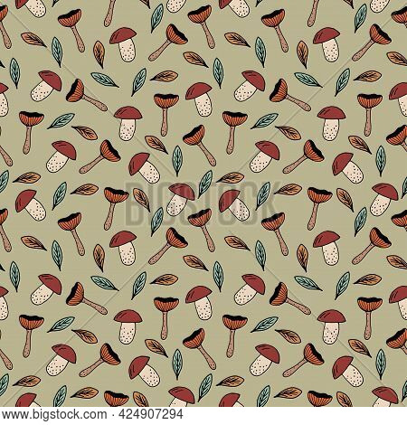 Seamless Pattern With Hand Drawn Forest Mushrooms And Leaves. Autumn Background. It Can Be Used For