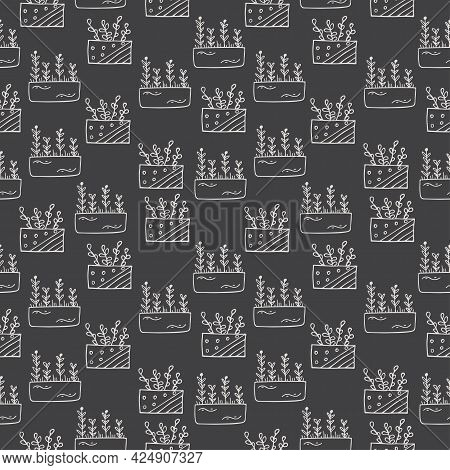 Seamless Pattern With Hand Drawn Floral Elements, Flowers In Pots On A Dark Background. It Can Be Us
