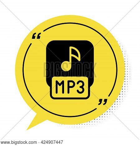 Black Mp3 File Document. Download Mp3 Button Icon Isolated On White Background. Mp3 Music Format Sig