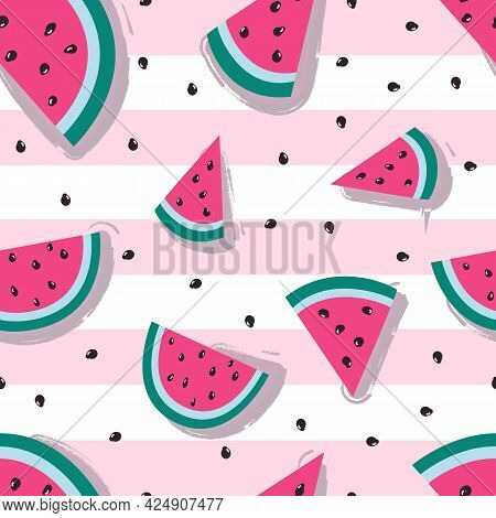 Seamless Pattern With Watermelon. Colorfull Pattern For Textile. Watermelon On Pink Stripes Backgrou