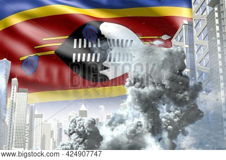 Big Smoke Column In The Modern City - Concept Of Industrial Blast Or Terroristic Act On Swaziland Fl