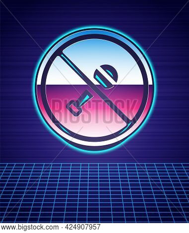 Retro Style Mute Microphone Icon Isolated Futuristic Landscape Background. Microphone Audio Muted. 8