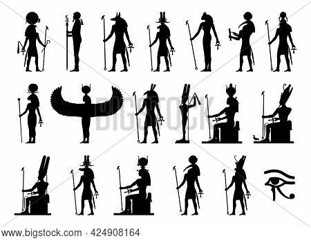 Silhouettes Of The Gods And Goddesses Of Ancient Egypt: Ra, Ptah, Anubis, Khnum, Bastet, Thoth, Khep