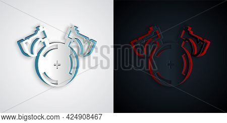 Paper Cut Medieval Shield With Crossed Axes Icon Isolated On Grey And Black Background. Battle Axe,