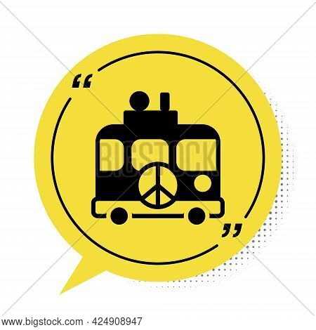 Black Hippie Camper Van Icon Isolated On White Background. Travel By Vintage Bus. Tourism, Summer Ho