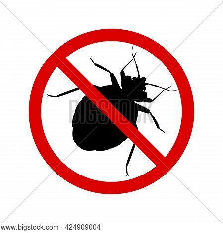 Bug Warning Sign, Vector Icon, Flat Design. Stop Insect Bug, Black Contour, Isolated On White Backgr