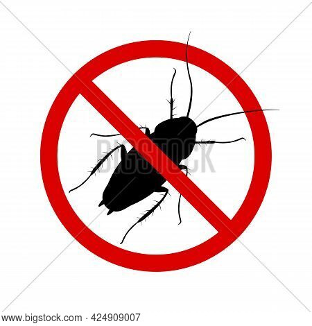 Anti-cockroach Icon, Pest Control, Destruction Of Parasites, Stop Insect , Black Contour, Isolated,
