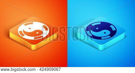 Isometric Yin Yang Symbol Of Harmony And Balance Icon Isolated On Orange And Blue Background. Vector