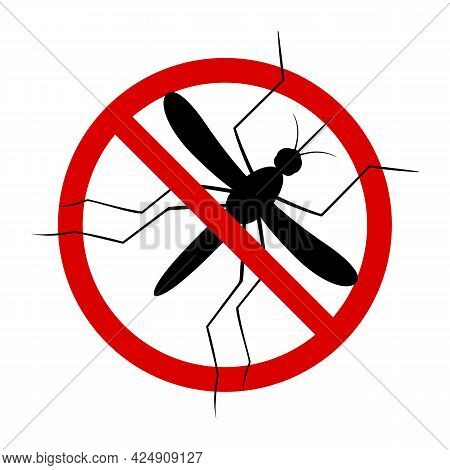 Mosquito. Symbol Parasite Warning Sign. Silhouettes. Anti Mosquitoes, Insect Control Vector Symbol.