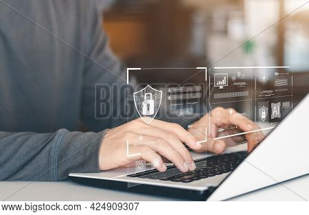 Cyber Security Internet And Networking Concept. Information Security And Encryption, Secure Access T
