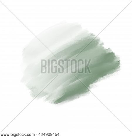 Abstract Blurred Green Spot Of Oil Paint, Design Element, Background.