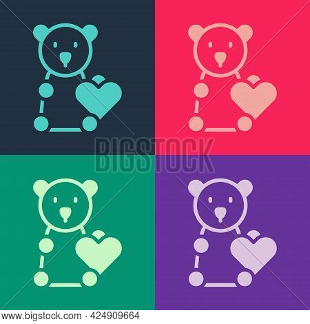 Pop Art Donate Child Toys Icon Isolated On Color Background. Charity Kindness, Volunteer Social Assi