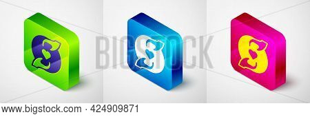 Isometric Pleasant Relationship Icon Isolated On Grey Background. Romantic Relationship Or Pleasant