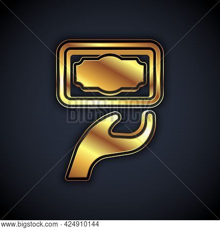 Gold Donation And Charity Icon Isolated On Black Background. Donate Money And Charity Concept. Vecto