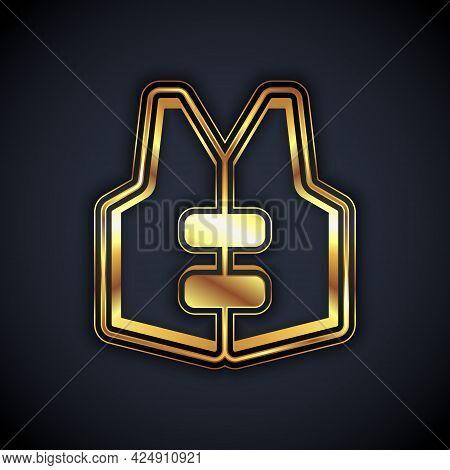 Gold Life Jacket Icon Isolated On Black Background. Life Vest Icon. Extreme Sport. Sport Equipment.