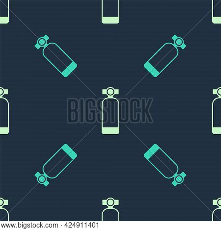 Green And Beige Aqualung Icon Isolated Seamless Pattern On Blue Background. Oxygen Tank For Diver. D