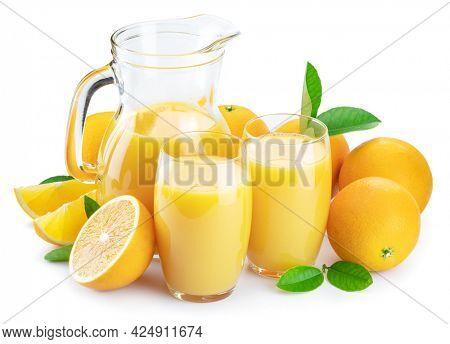 Yellow orange fruits and fresh orange juice isolated on white background.