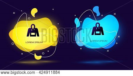 Black Hoodie Icon Isolated On Black Background. Hooded Sweatshirt. Abstract Banner With Liquid Shape