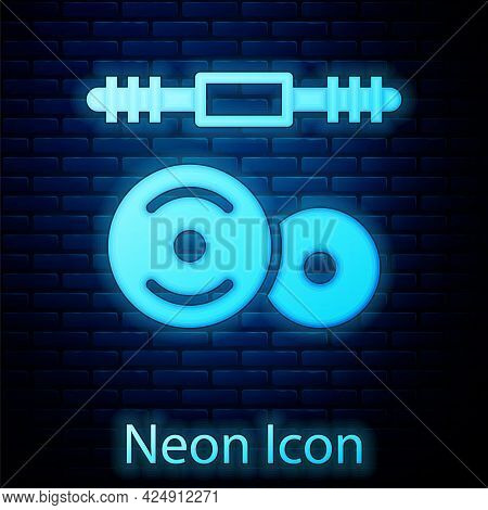 Glowing Neon Barbell Icon Isolated On Brick Wall Background. Muscle Lifting Icon, Fitness Barbell, G