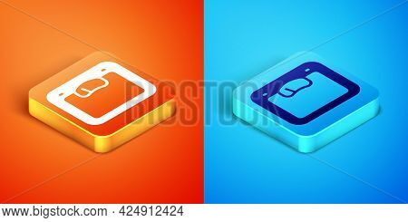 Isometric Bathroom Scales Icon Isolated On Orange And Blue Background. Weight Measure Equipment. Wei