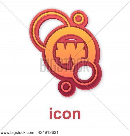 Gold South Korean Won Coin Icon Isolated On White Background. South Korea Currency Business, Payment