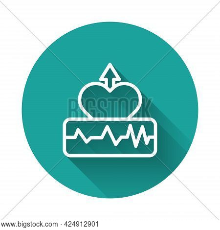 White Line Heartbeat Increase Icon Isolated With Long Shadow Background. Increased Heart Rate. Green