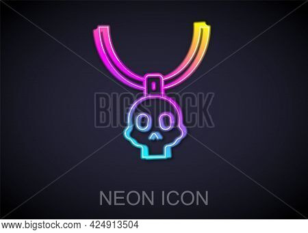 Glowing Neon Line Necklace Amulet Icon Isolated On Black Background. Vector