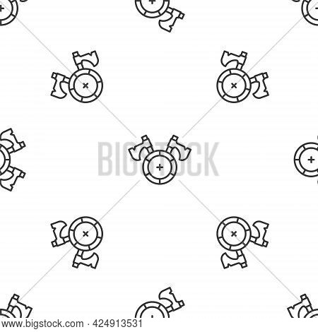 Grey Line Medieval Shield With Crossed Axes Icon Isolated Seamless Pattern On White Background. Batt